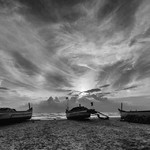 @instagram: Dramatic skies in BW . #adventure_of_a_lifetime #goa #goaah #colva #paradise #beautiful #landscape #beach #boats #stunning_sunset #skies #clouds #nikonfan #nikonD3300 #10-20mm #incredible_india #instapic #iamnikon #NikonAsia