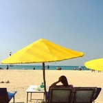 @instagram: Time to get some tan at beach baby. #Beach #sky #Withbiwi #yellow #colva #loveoverlive